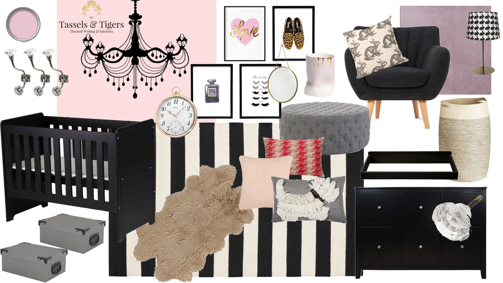 Coco Chanel Inspired Baby Nursery with gold, black and pink. Houndstooth, Jerseay and crystal and also black baby crib and furniture