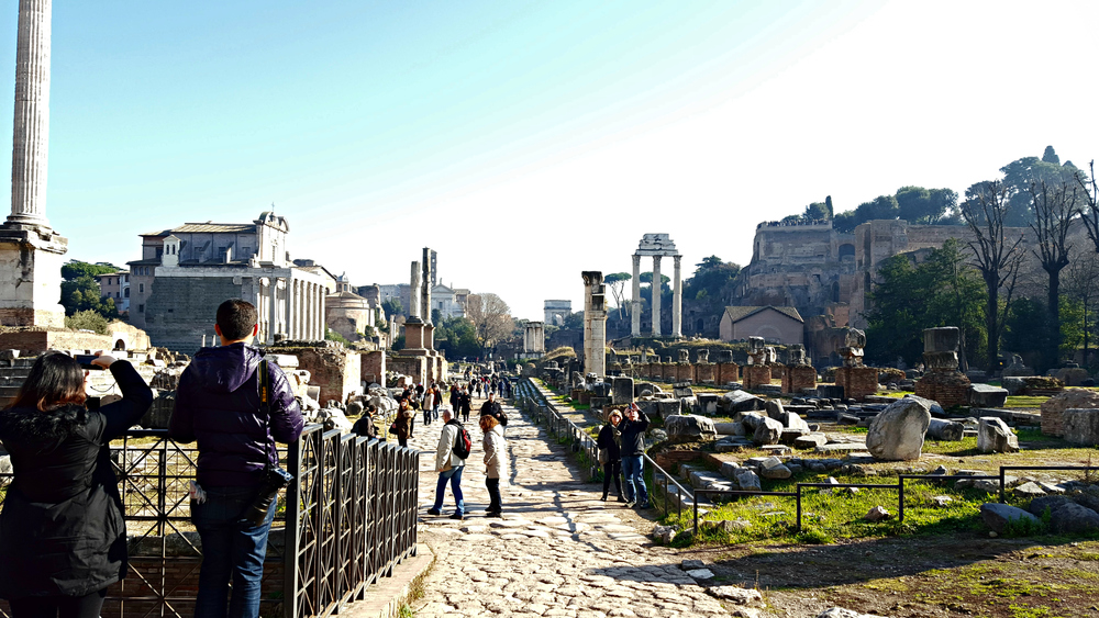 Having walked from the one end of the Roman Forum to the other - temples and people everywhere
