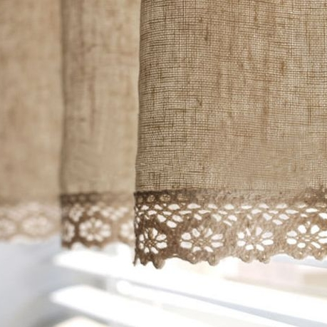 Add a little country chic to linen curtains.   Especially pretty in kitchens, bedrooms and bathrooms.