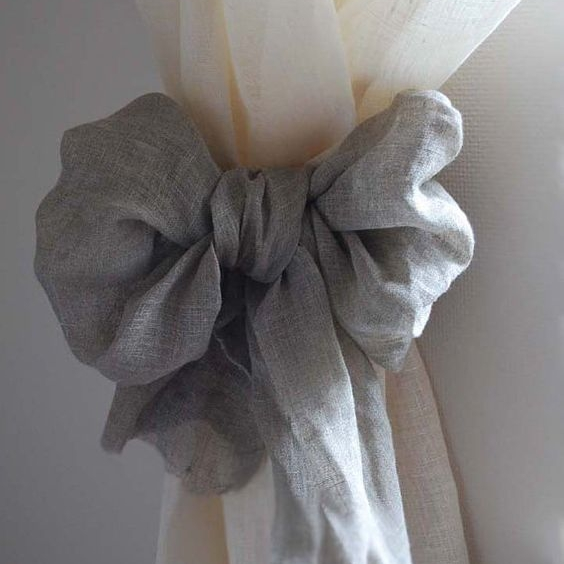 Who ever said you can't do linen on linen?  Create lovely, soft linen curtains with linen tiebacks.