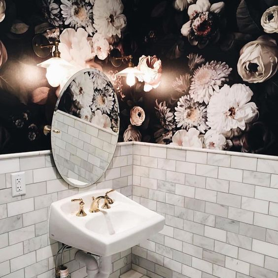 gothic floral black and white wallpaper in bathroom.jpg