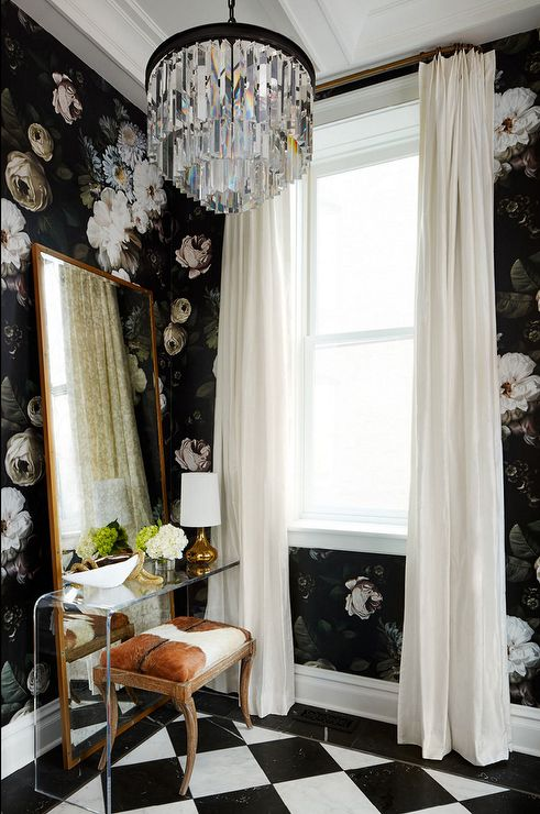 boudoir floral wallpaper with cow skin and checkerblock.jpg