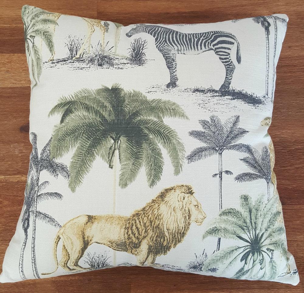Lion Zebra Palm Animal Linen Scatter Cushion For Sale.jpg
