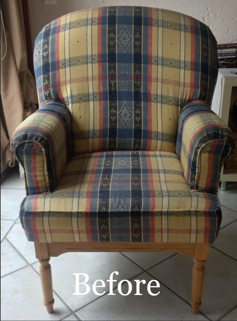 Before images of the re-upholstered chairs.