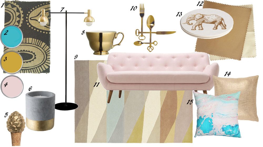 Design Board of an ochre gold, serenity blue and pink - Plascon and Pantone. Pink Scandinavian couch. Gold cutlery.