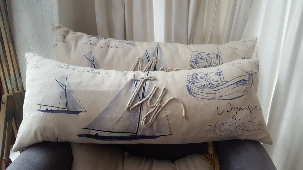 nautical themed personalised boys' room scatter.