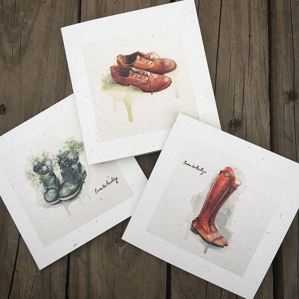 Leather show watercolour paintings and cards by Emma-Lee Rawlings. Local South African Emerging Artist featured on Tassels & Tigers Interiors blog.