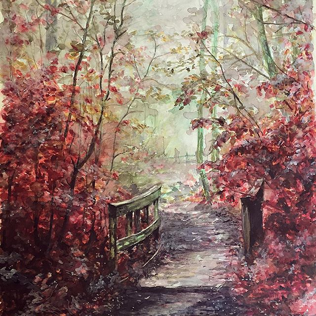 Watercolour forest scene in reds and greens autumn artwork by Emma-Lee Rawlings
