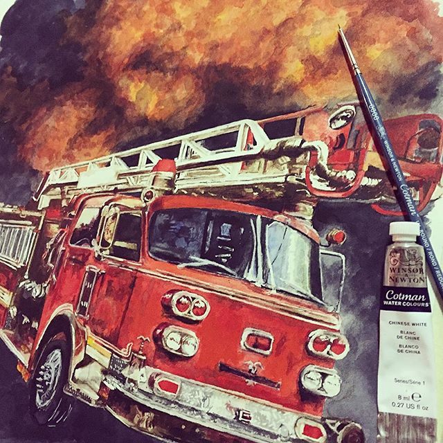 Red firetruck watercolour painting by Emma-Lee Rawlings