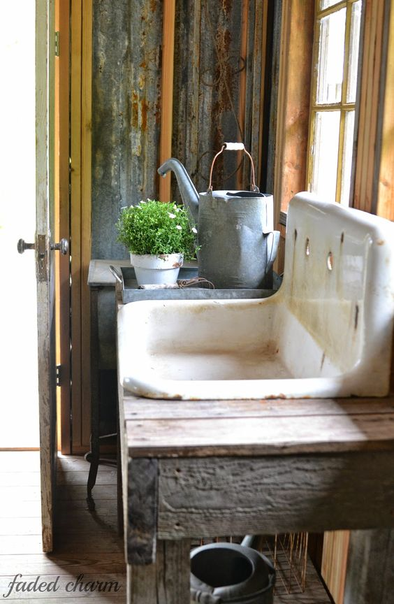 A basin in a potting shed is essential