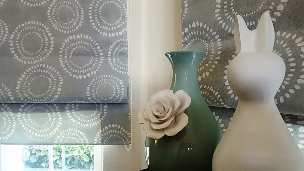 Duckegg country charm in baywindow blinds