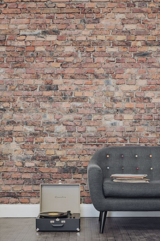 this brick wallpaper looks very realistic and creates a cozy feel