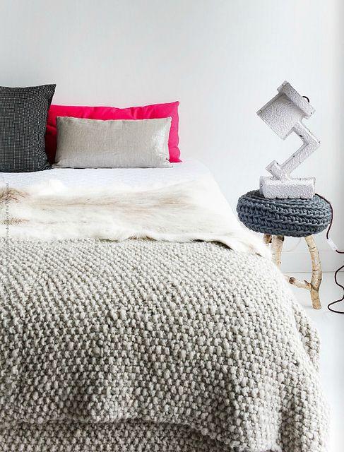 bedroom with lots of warm textures