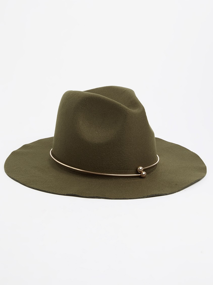 Khaki Green Fedora with Gold Metal Detail from Spree - R149.