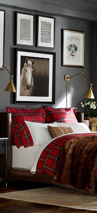 plaid on plain bedding with faux fur throw and loepard print feature scatter.jpg
