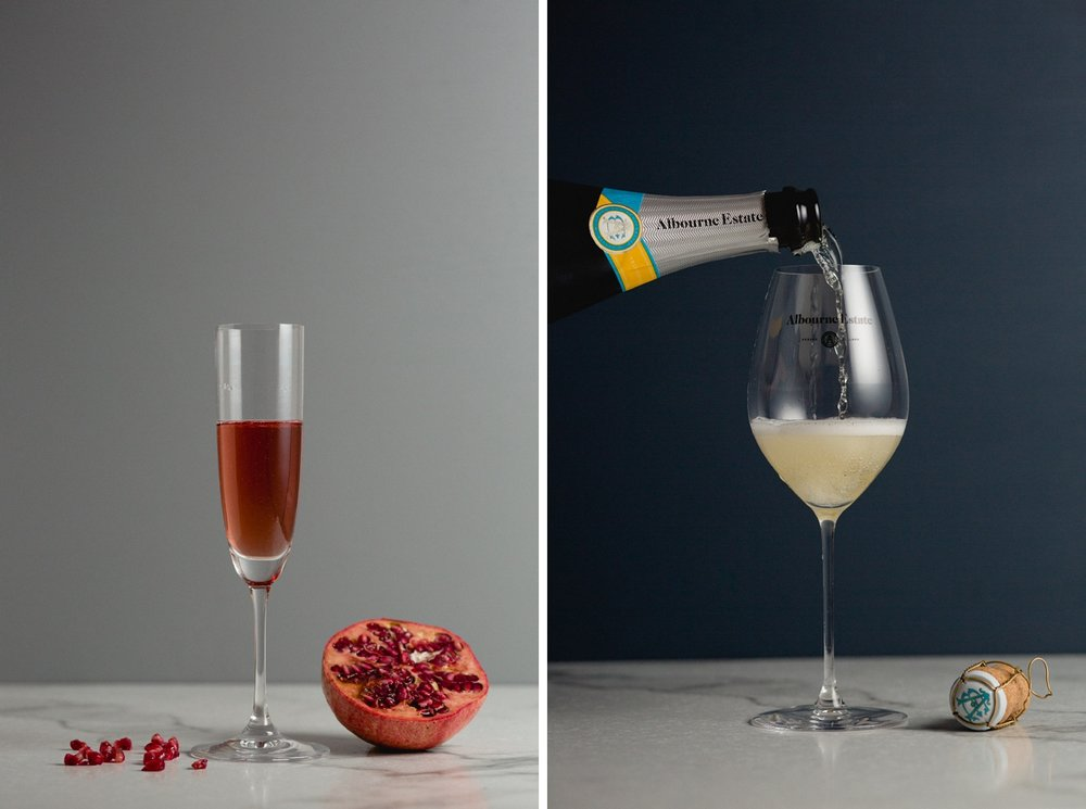 White and Rose english sparkling wine product photography
