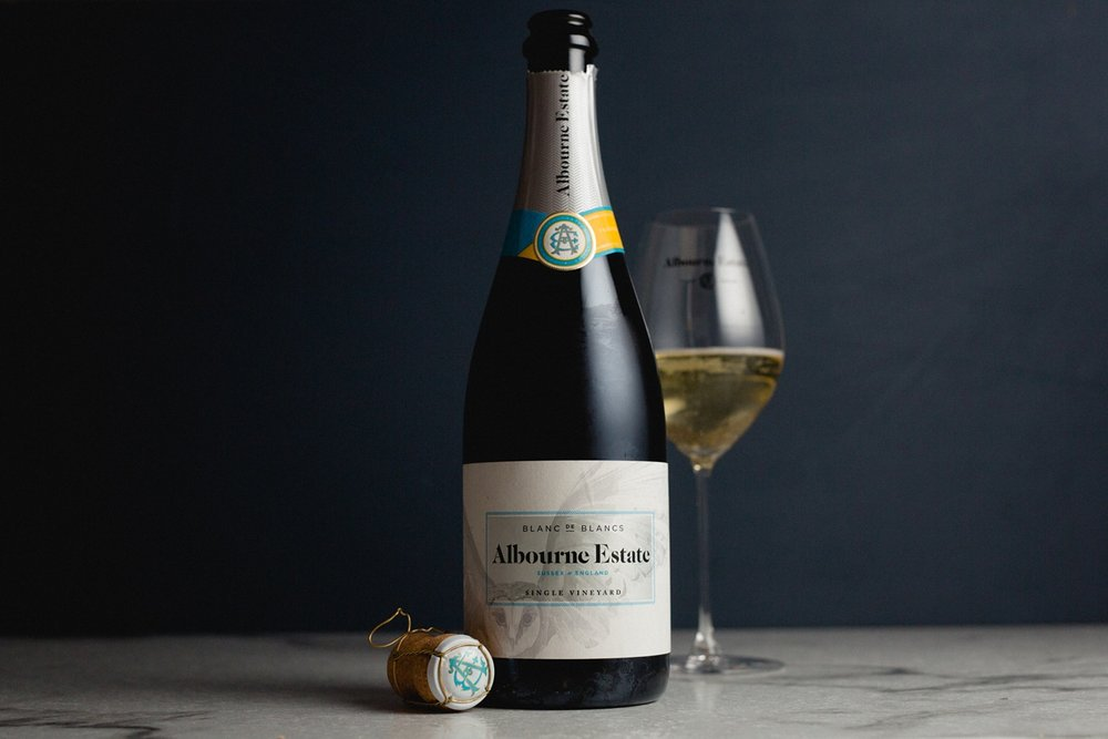 Product photographer of english sparkling wine by albourne estate