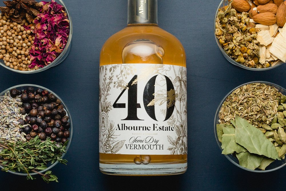 product photography of the albourne estate 40 vermouth with botanicals
