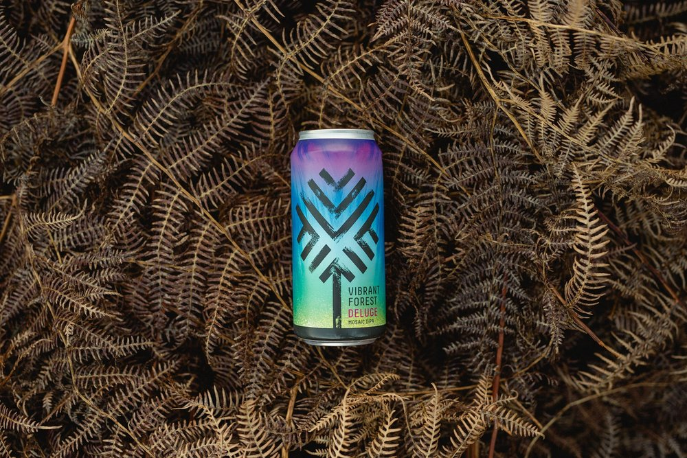 Vibrant Forest Deluge craft beer can photography