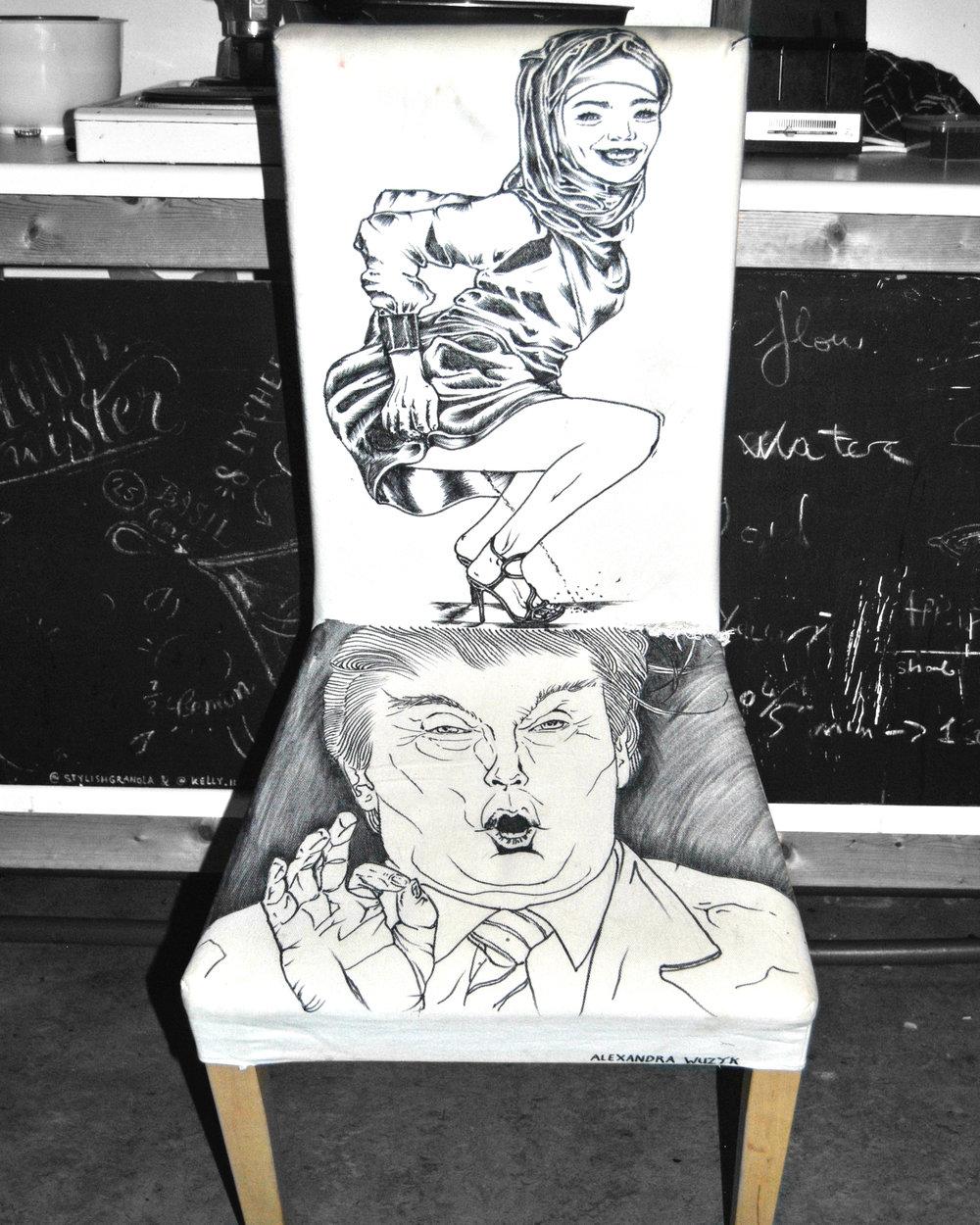 Piss off, Trump, Marker on Linen Chair, 03-11-17