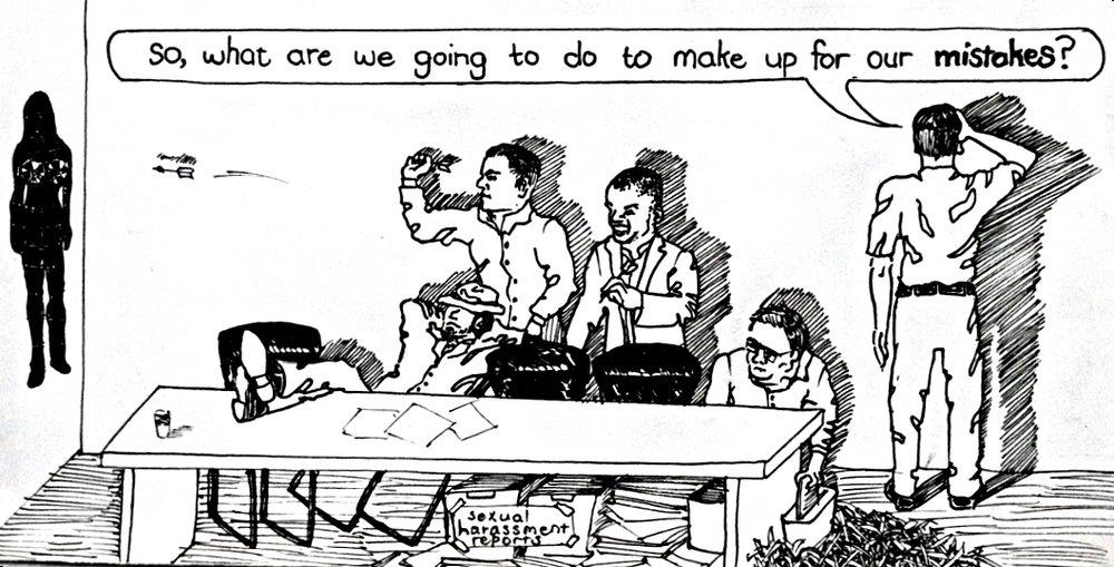 Comic protesting harassment cases in Karachi Highschool, Pakistan,#TimesUp Pen on Paper, 210 x 120mm, 13-05-18