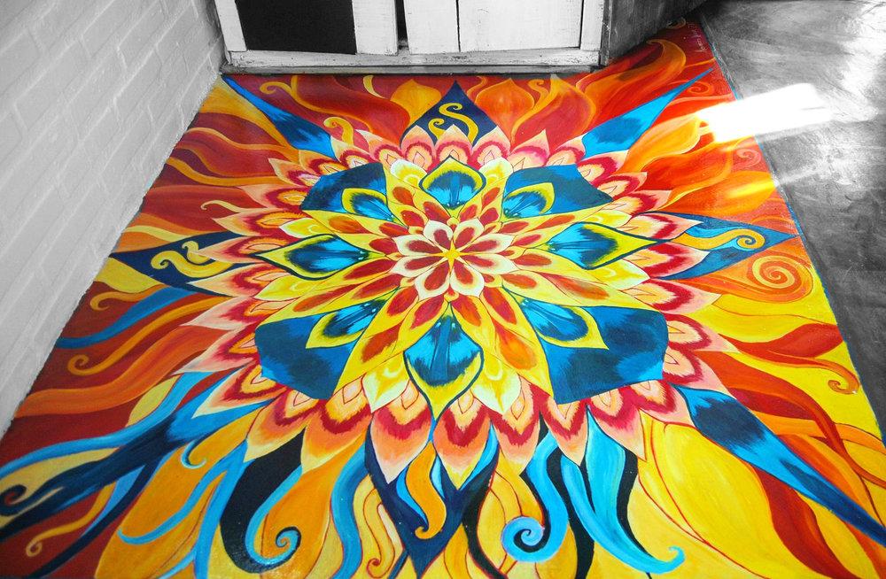 Acrylic Floor Mural, Source Temple Community, Cunha, Brazil 1-2017