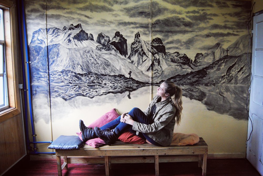 Diluted Oil Paint, Patagonia Hostel, Punta Arenas, Chile 6-01-2017
