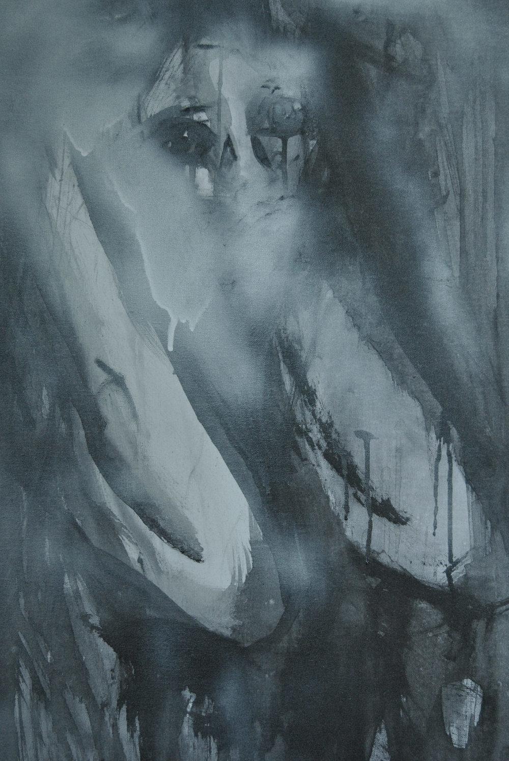 Acrylic and Spray paint on Canvas, 594 x 841 mm,  17-11-15