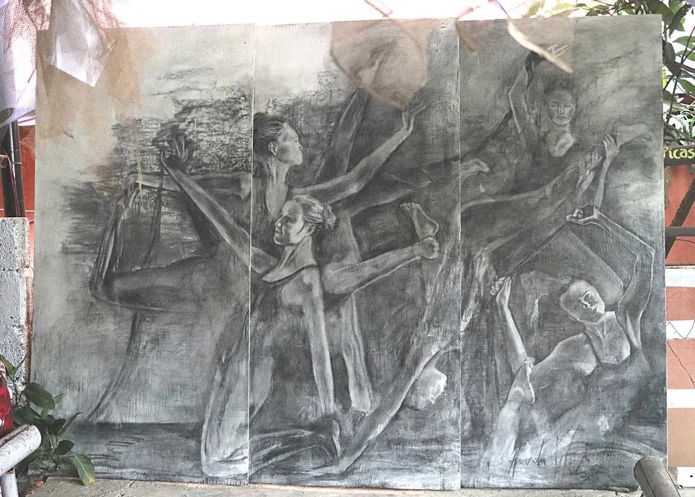 Charcoal on Acrylic Base with Varnish Coating, Umbrella Yoga Cafe,2-5-2018, Pokhara, Nepal