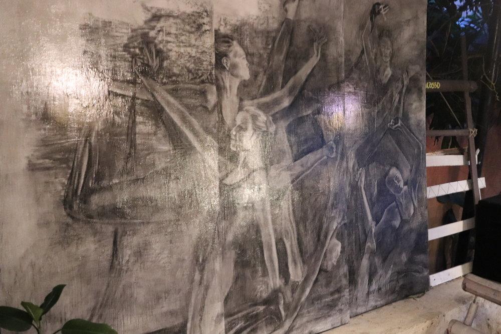 Charcoal on Acrylic Base with Varnish Coating, 2-5-2018, Umbrella Yoga Cafe, Pokhara, Nepal