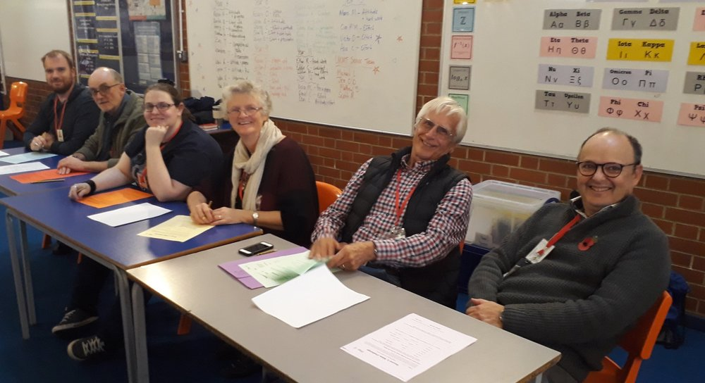 Six of our wonderful team as they marked the answers of our Inter-form relay quiz at the end of the day.