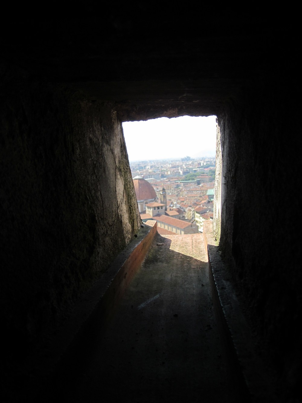The view from the Santa Maria del Fiore of Florence, Italy from inside Filippo Brunelleschi's dome.