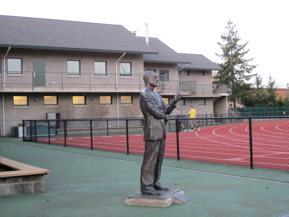 Statue of legendary Coach Bill Bowerman at the University of Oregon.