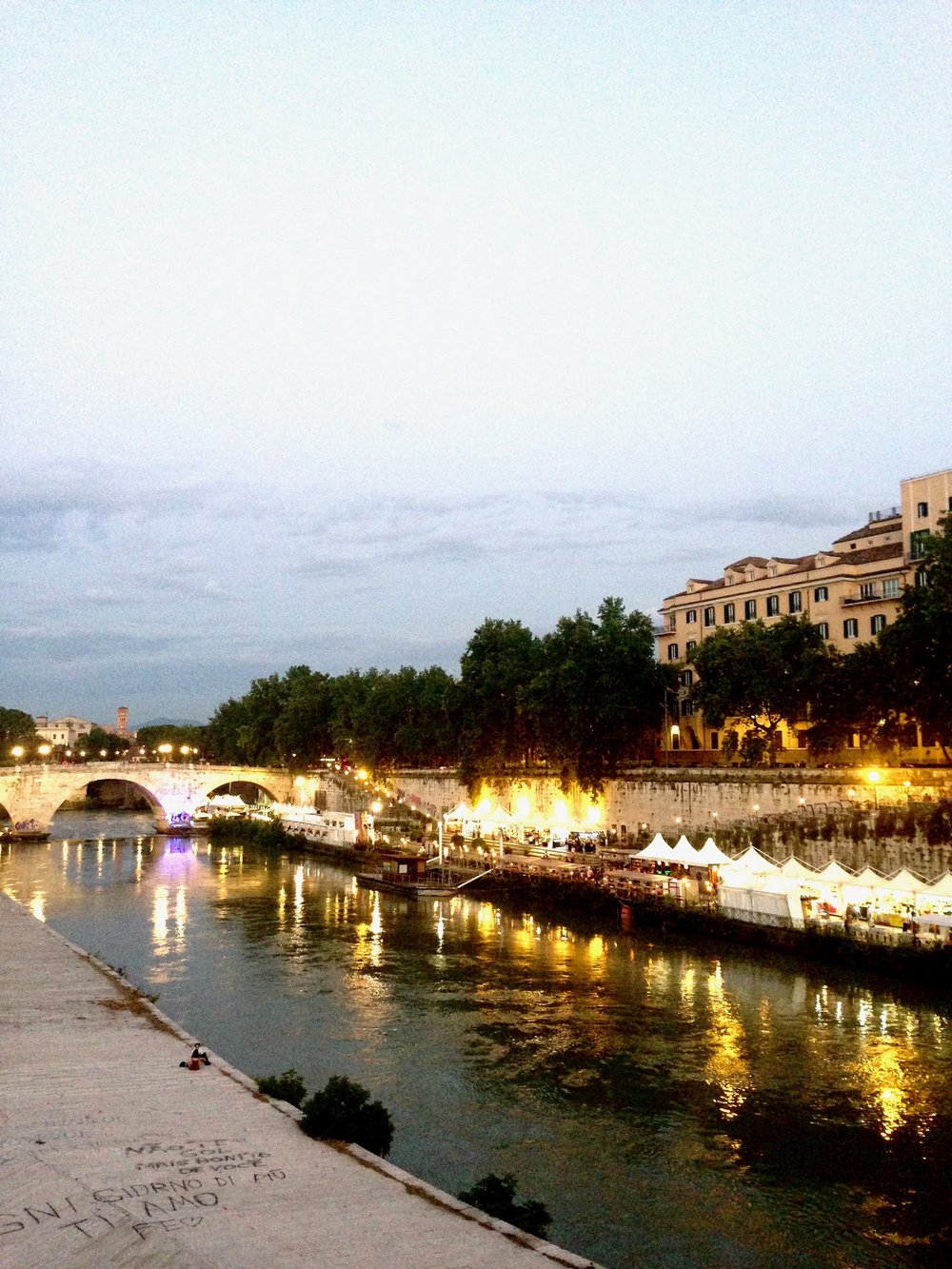 walk along the river in Rome:  good activity between meals.