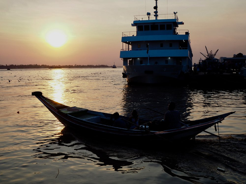 sunset over Yangon.