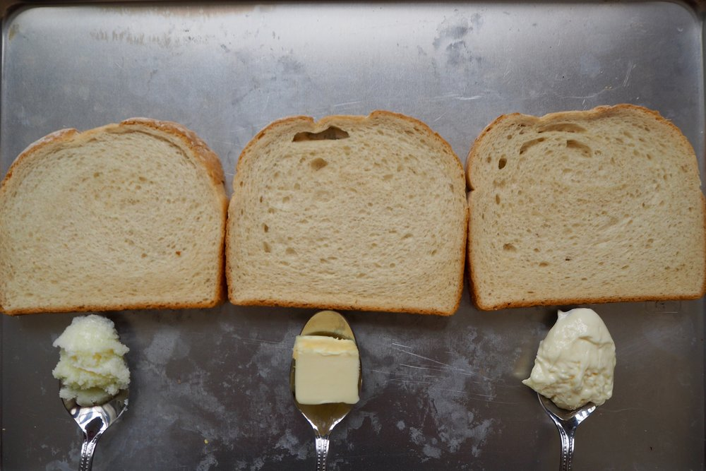 from left to right: ghee, butter, mayonnaise.