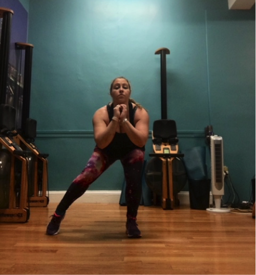 Modification: Stay low in squat and alternate stepping feet out wide-