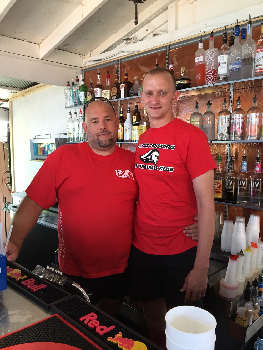 Eddie and Adam bartending