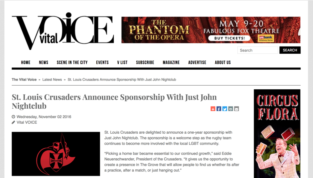 The Crusaders announce their home bar sponsorship with Just John Nightclub.