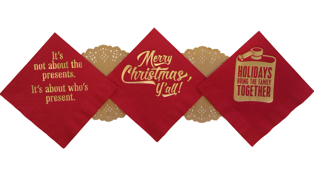 These red, embossed cocktail napkins come with a message for any and every kind of family or friend group.