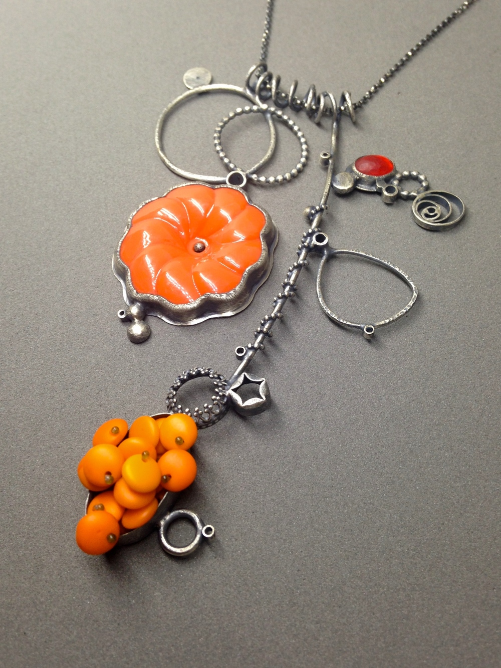 orange polyp collage necklace: