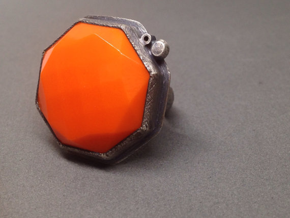 orange octagon ring: oxidized sterling & faceted vintage glass