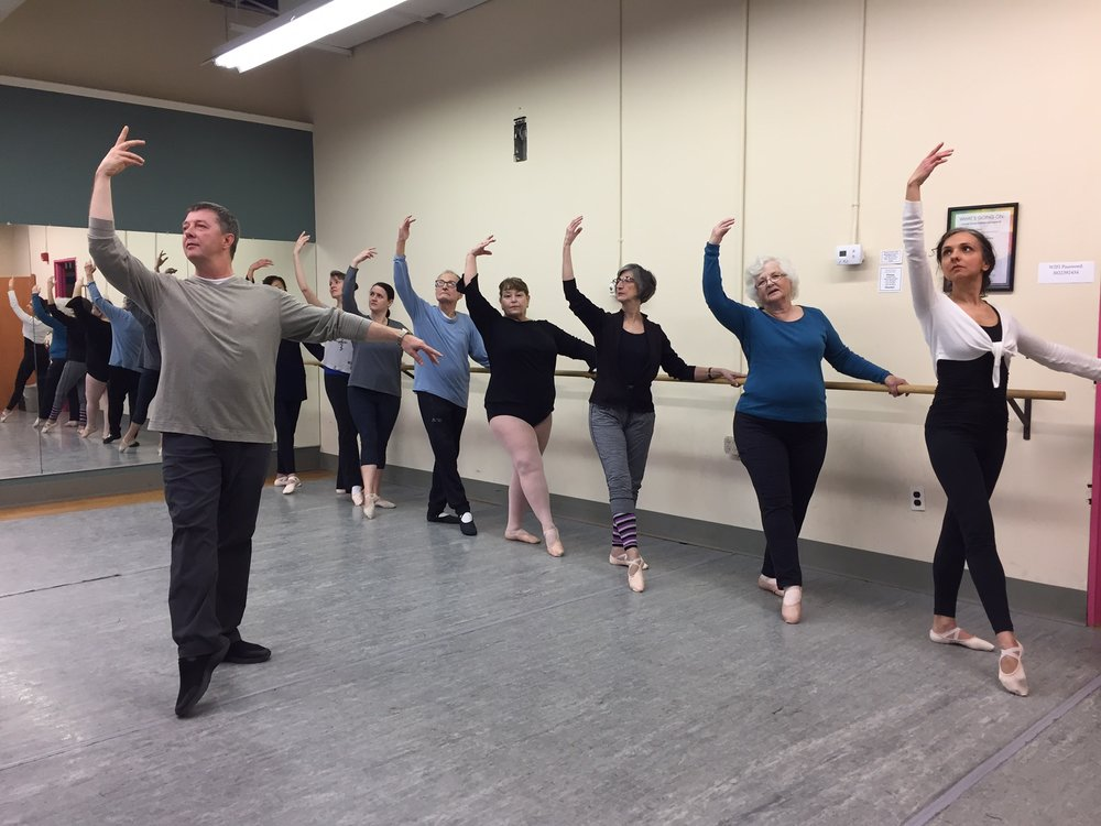 Ballet for Adults - Taught by Val GoncharovTry our Adult Ballet Classes on Tuesdays & Thursdays, 10:00am-11:15amEVENING CLASSES NOW OFFERED! Thursday evening class, 6-7:15pm. Try it out!$17 for first class to try it out, $20 drop in fee or $17 per class if paying monthly. Must register in class and pay teacher all required fees. Students of all abilities can join this twice weekly class and follow along with ballet moves to help you improve balance and grace in your movements.
