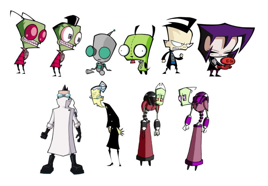 The ensemble of characters found in  Invader Zim .