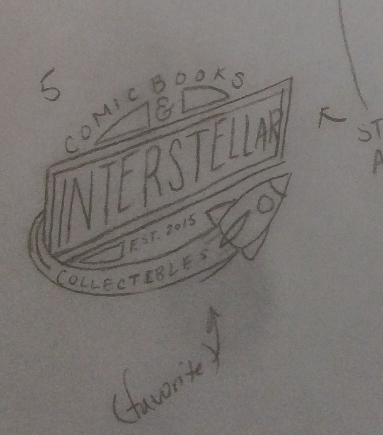 One of the first concept designs of the Interstellar Comic Books & Collectibles logo