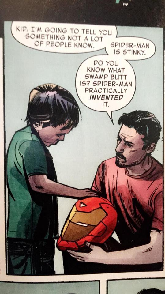 Tony Stark dissing Adrian Cuevas' old favorite superhero