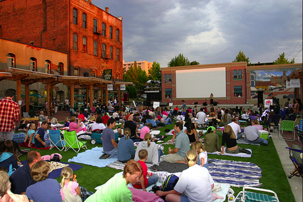 Family movie night at the outdoor movie theater. Would you enjoy something similar on the new town plaza in Crozet?