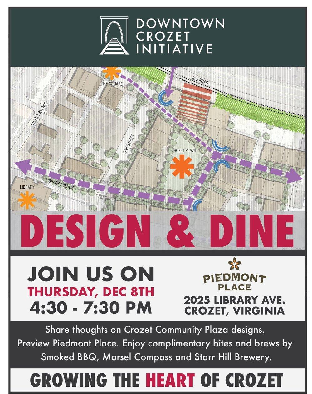 DCI Design Dine Event Mark Your Calendars DOWNTOWN CROZET - Us event map design