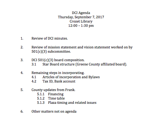 DCI September 2017 Meeting Agenda