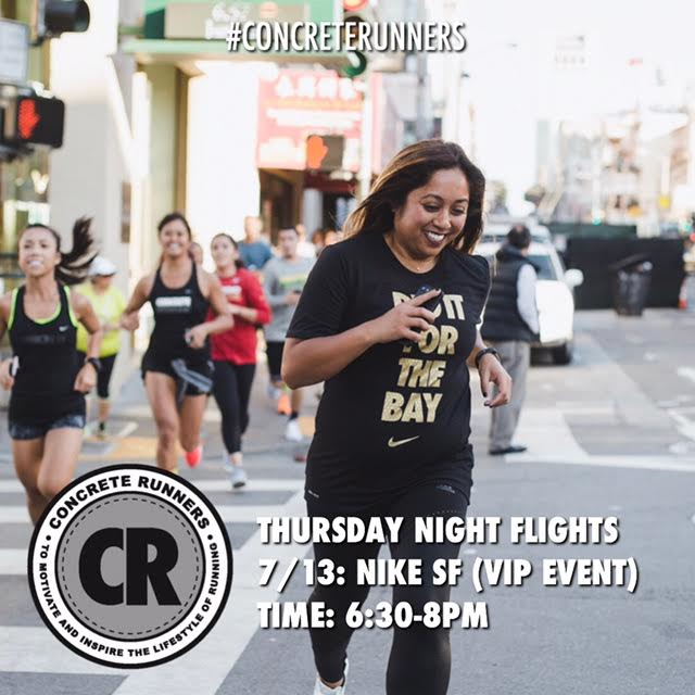Nike San Francisco has invited us for a VIP shopping experience on from 4-8pm. Join us for Thursday Night Flights and a shopping 1:1 experience afterwards. $20 off $100 Gift card with exclusive gifts with purchase. Refreshments will be provided. Date: Thursday, July 13th ‍️Hosted by: Nike SF Boarding time: 6:15pm Departing time: 6:30pm Distance: 3-5miles Flight Deck: 278 Post St, San Francisco, CA 94108   #concreterunners #CRxTNF #runcrew #runwithus #runnerscommunity #fitnesscommunity #werunthebay #werunsf #nikerunning #justdoit